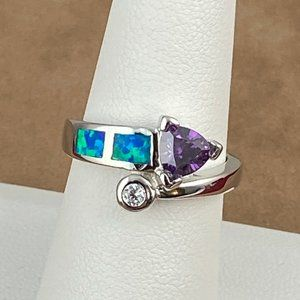 Deep Purple Amethyst & CZ 925 Silver Ring Size 7